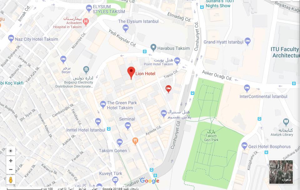 مکان هتل لیون بر روی نقشه گوگل