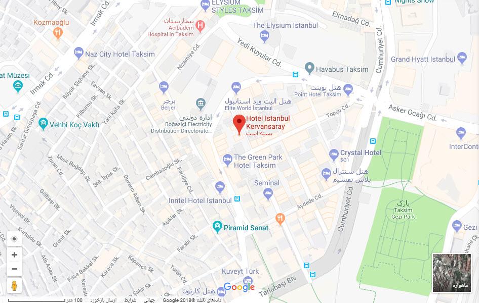هتل کروانسرای بر روی نقشه گوگل