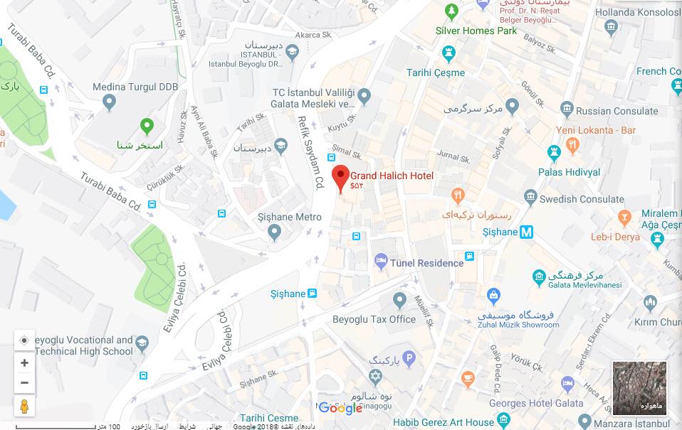 مکان هتل گرند هالیک بر روی نقشه گوگل