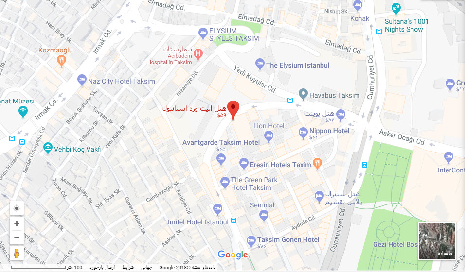 مکان هتل الیت وورد بر روی نقشه گوگل