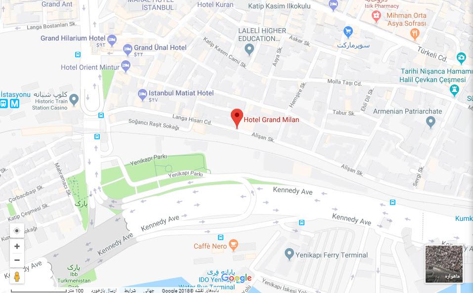 مکان هتل گرند میلان بر روی نفشه گوگل