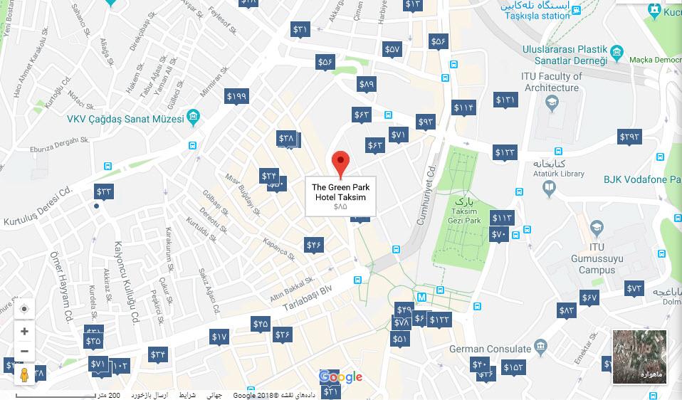 مکان هتل گرین پارک بر روی نقشه گوگل