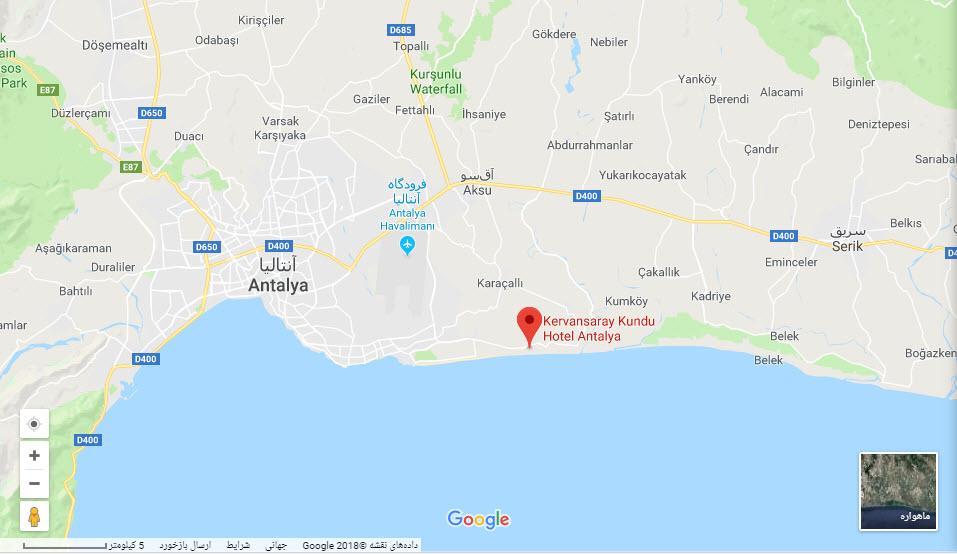 مکان هتل کروانسرای لارا بر روی نقشه گوگل