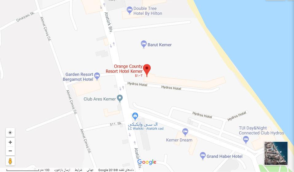 مکان هتل اورنج کانتی بر روی نقشه گوگل