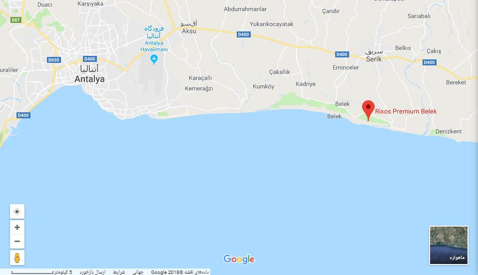 مکان هتل ریکسوس پریمیوم بر روی نقشه گوگل