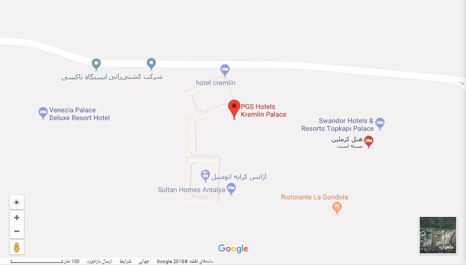 مکان هتل کرملین پالاس بر روی نقشه گوگل