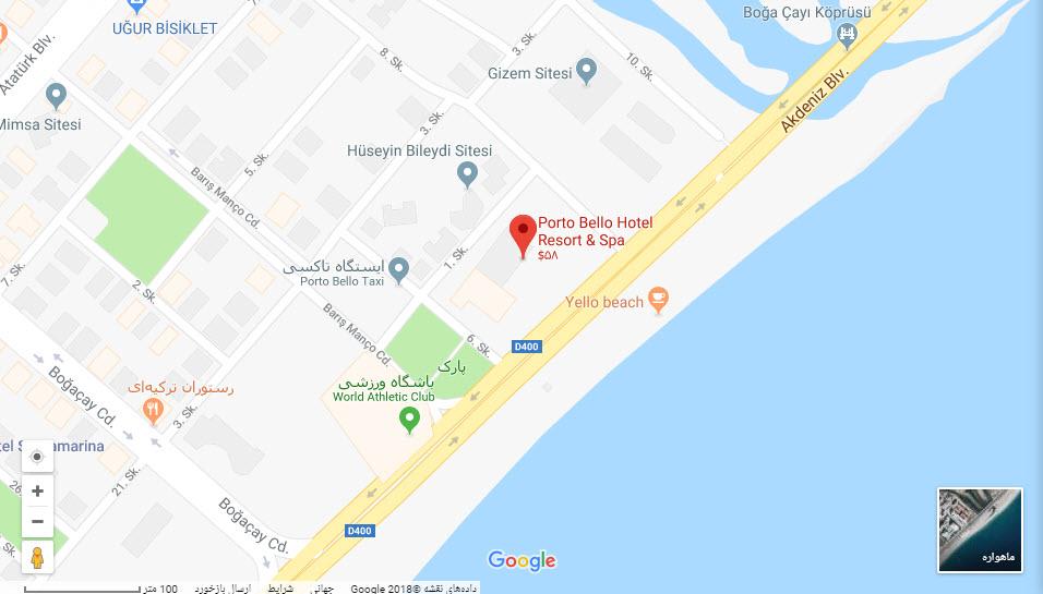 مکان هتل پورتوبلو بر روی نقشه گوگل