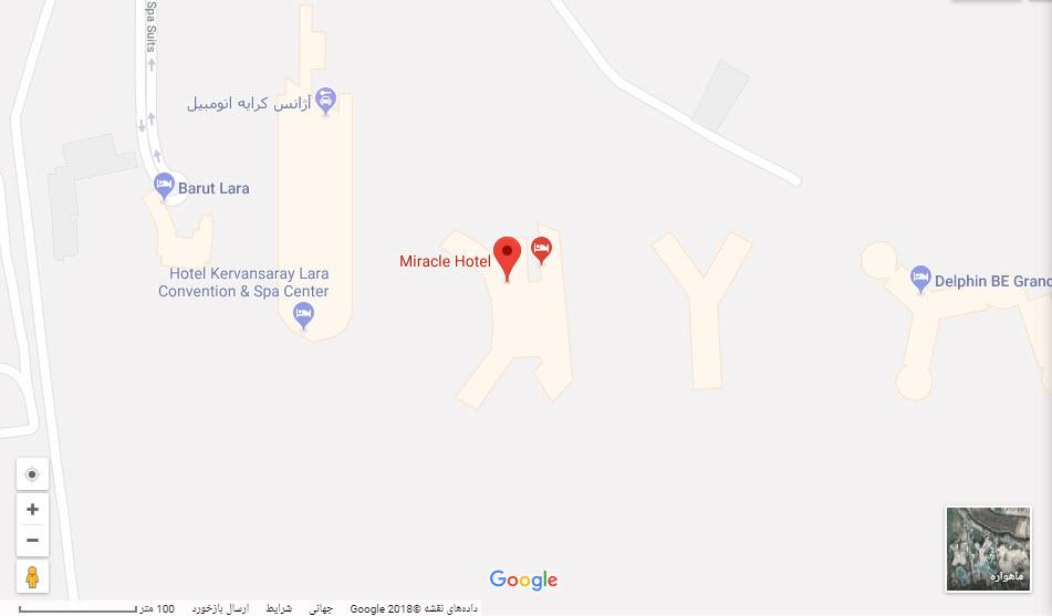 مکان هتل میراکل بر روی نقشه گوگل