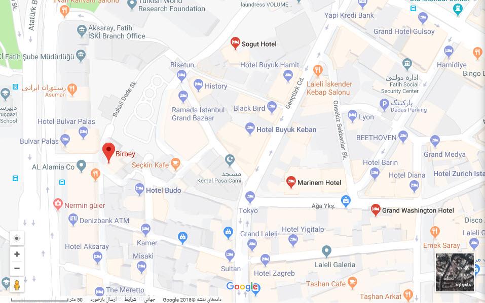 مکان هتل بیربی بر روی نقشه گوگل