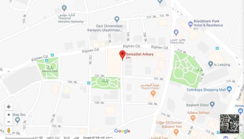 مکان هتل سوییس بر روی نقشه گوگل