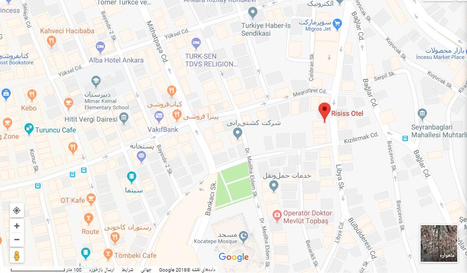 مکان هتل رایسیس بر روی نقشه گوگل