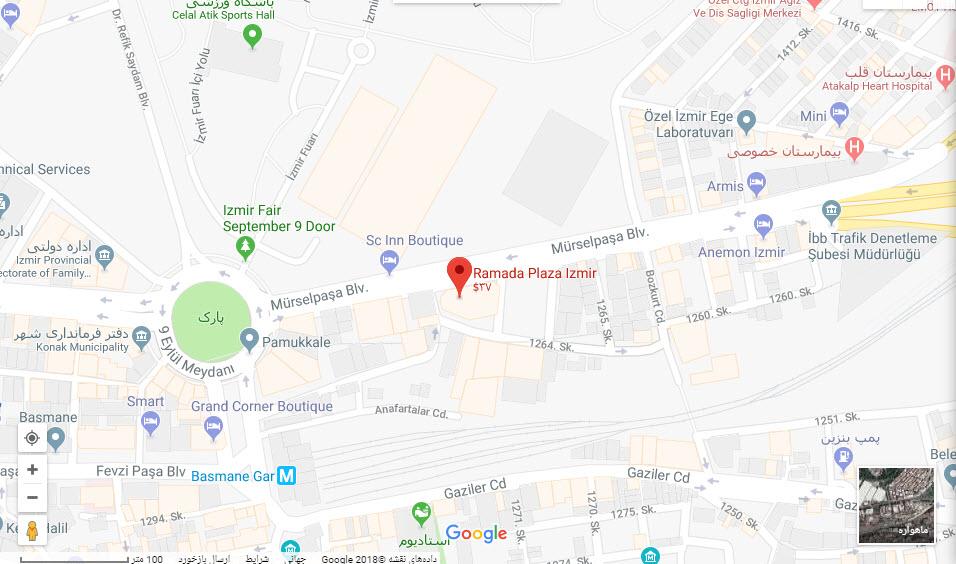 مکان هتل رامادا پلازا بر روی نقشه گوگل