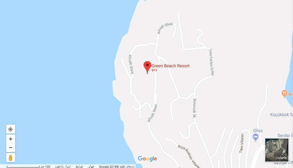 مکان هتل گرین بیچ بر روی نقشه گوگل