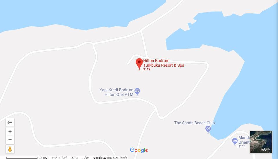 مکان هتل هیلتون بر روی نقشه گوگل