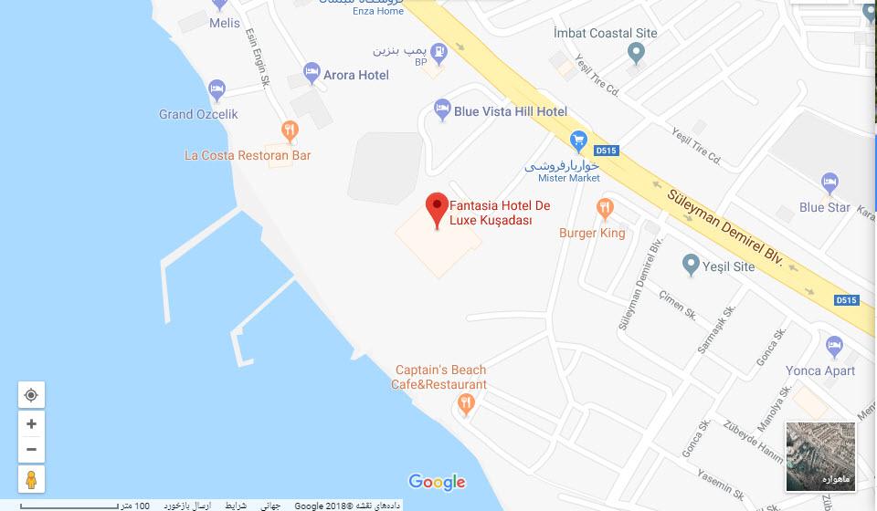مکان هتل فانتاسیا بر روی نقشه گوگل