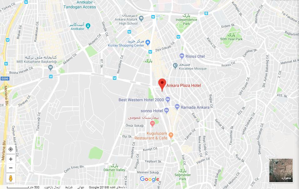 مکان هتل آنکارا پلازا بر روی نقشه گوگل