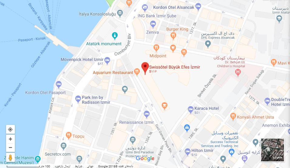 مکان هتل سوئیس بر روی نقشه گوگل