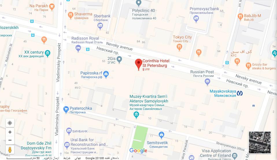 مکان هتل کرینتیا بر روی نقشه گوگل