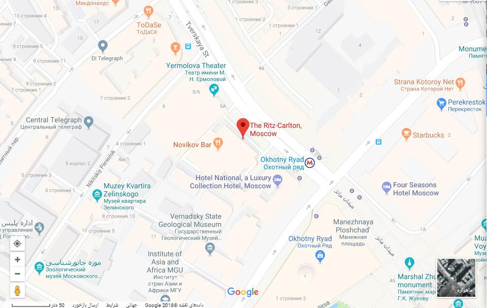 مکان هتل ریتز کارلتون بر روی نقشه گوگل