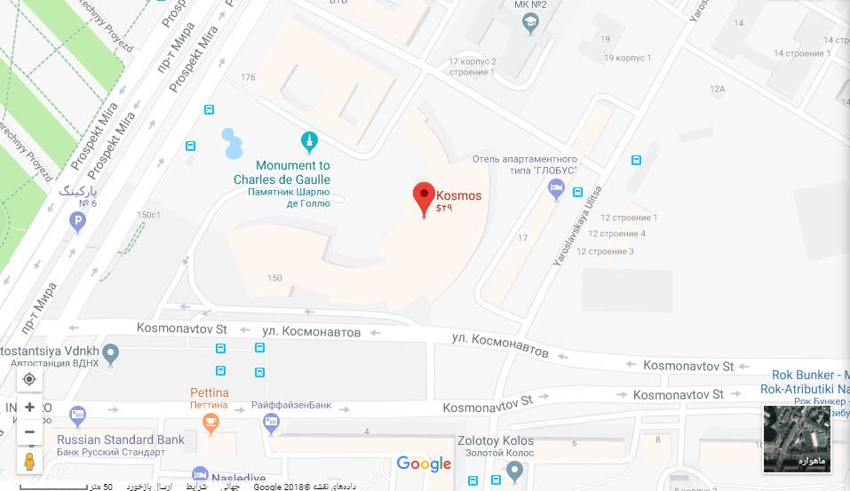 مکان هتل کاسموس بر روی نقشه گوگل