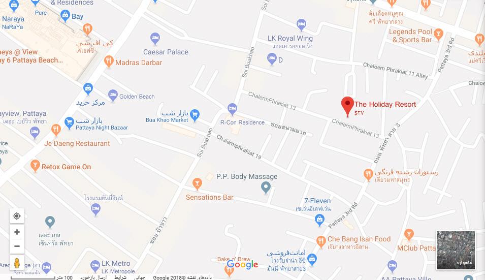 مکان هتل هالیدی ریزورت بر روی نقشه گوگل