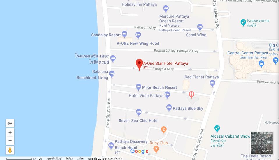 مکان هتل ای وان استار بر روی نقشه گوگل