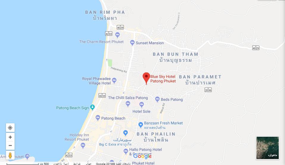مکان هتل بلو اسکای بر روی نقشه گوگل