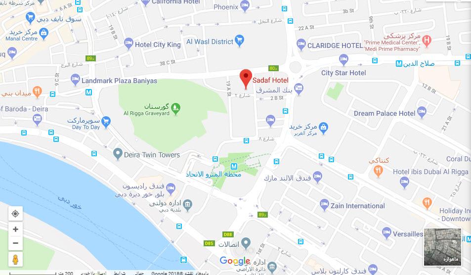 مکان هتل صدف بر روی نقشه گوگل