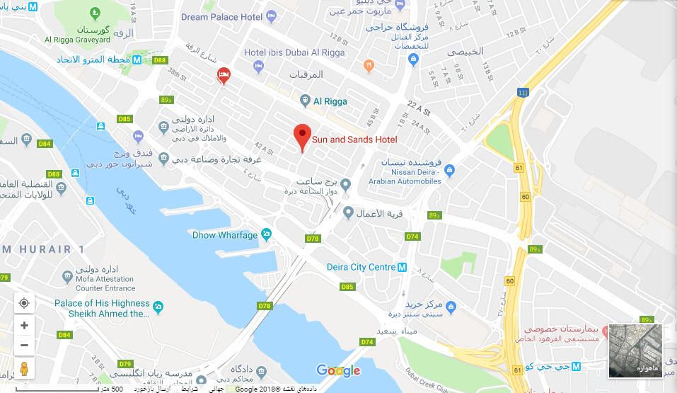 مکان هتل سان & سندز بر روی نفشه گوگل