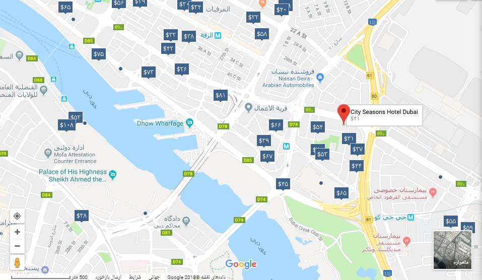 مکان هتل سیتی سیزن بر روی نقشه گوگل