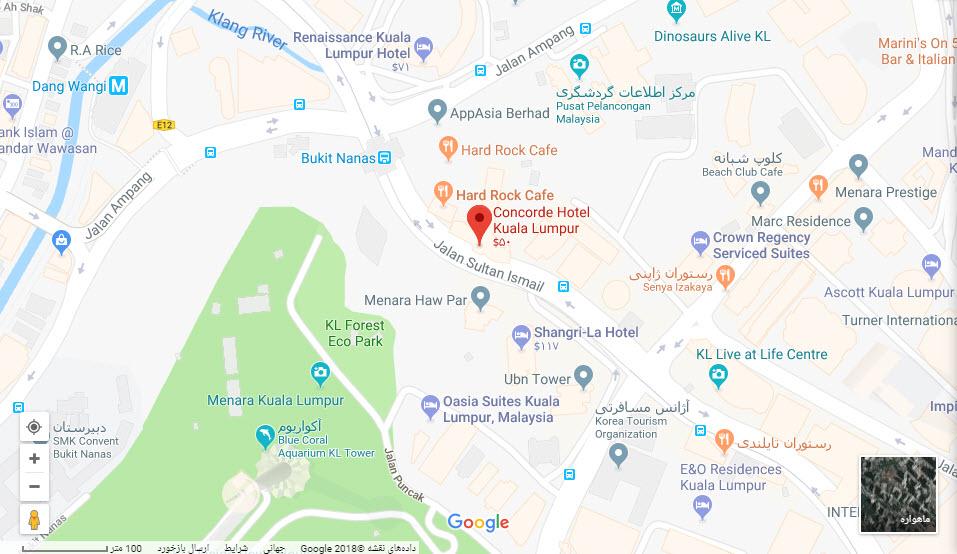 مکان هتل کمکورد بر روی نقشه گوگل