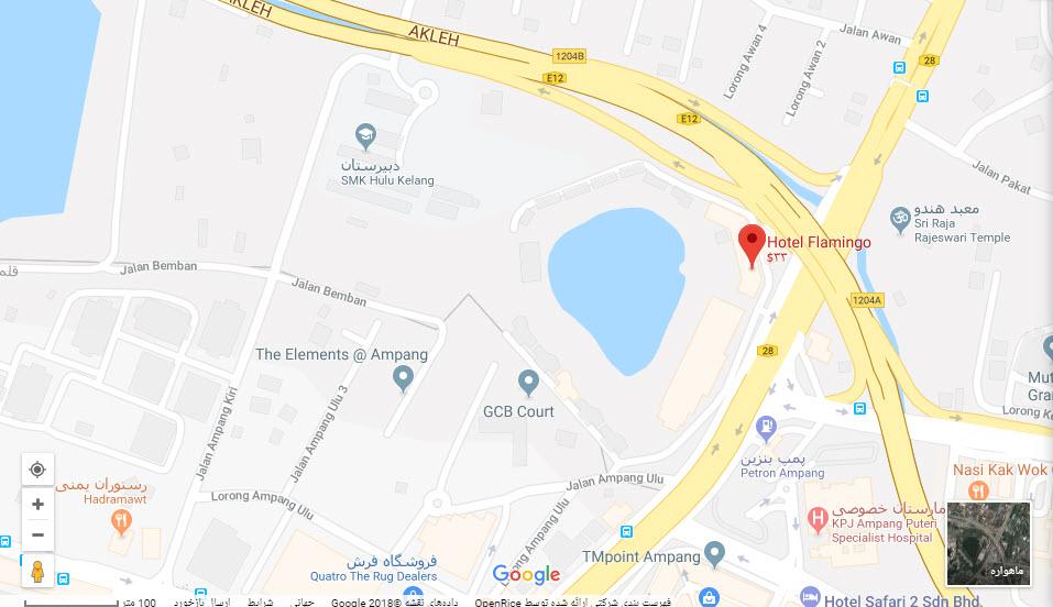 مکان هتل فلامینگو بر روی نقشه گوگل