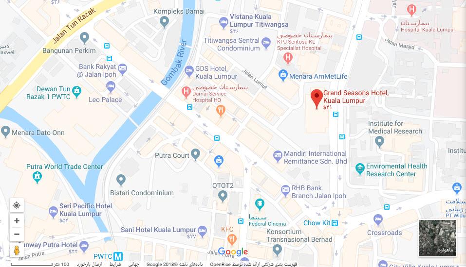 مکان هتل گرند سیزنز بر روی نقشه گوگل
