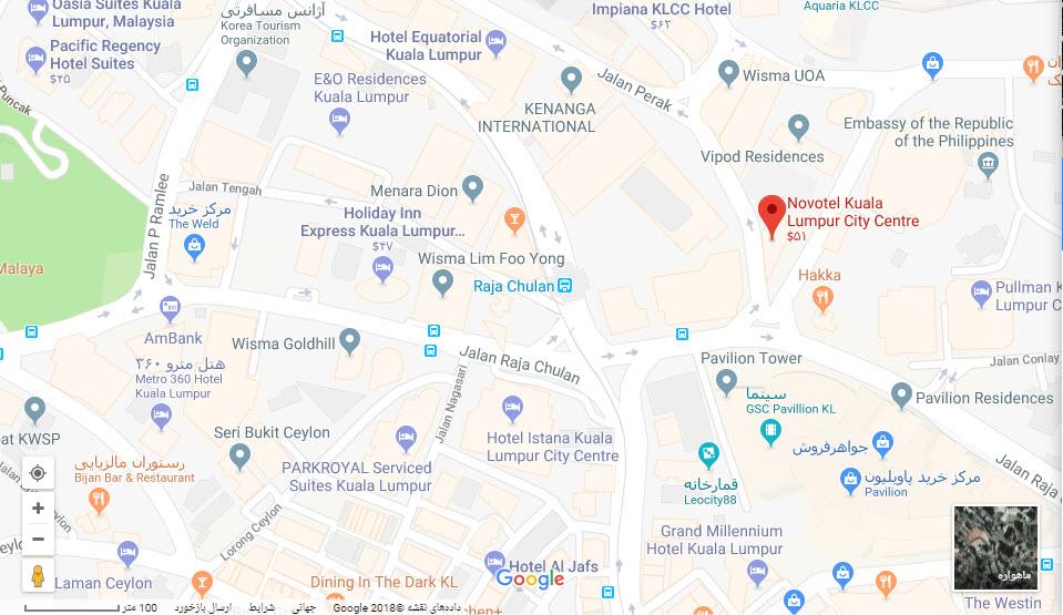 مکان هتل نووتل بر روی نقشه گوگل