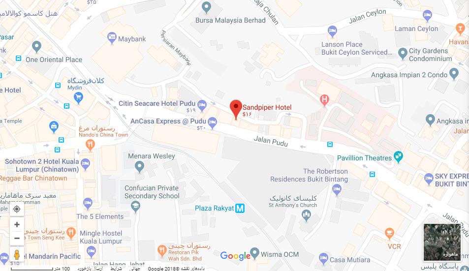 مکان هتل سند پایپر بر روی نقشه گوگل