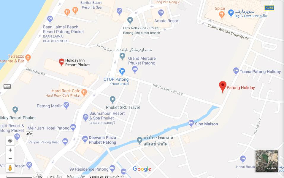 مکان هتل پاتونگ هالیدی بر روی نقشه گوگل