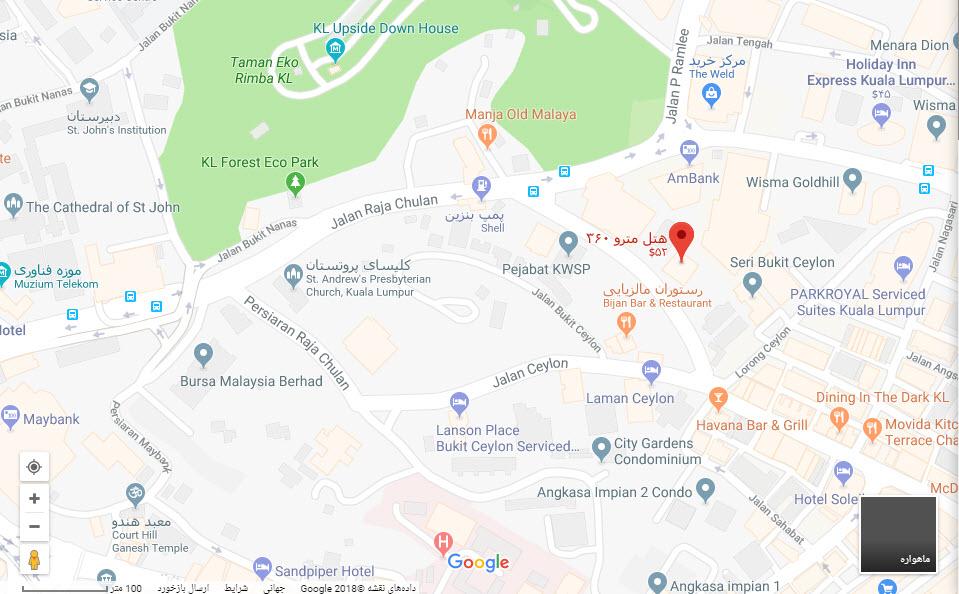 مکان هتل مترو 360 بر روی نقشه گوگل