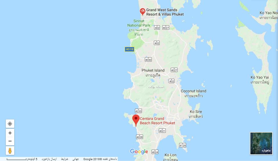 مکان هتل سنتارا گرند بر روی نقشه گوگل