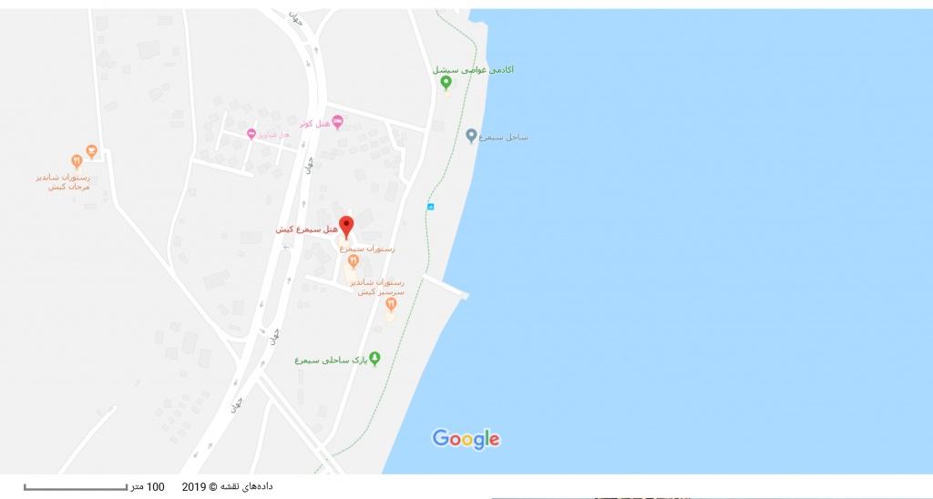 مکان هتل سیمرغ بر روی نقشه گوگل