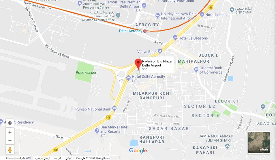 مکان هتل رادیسون بلو پلازا بر روی نقشه گوگل