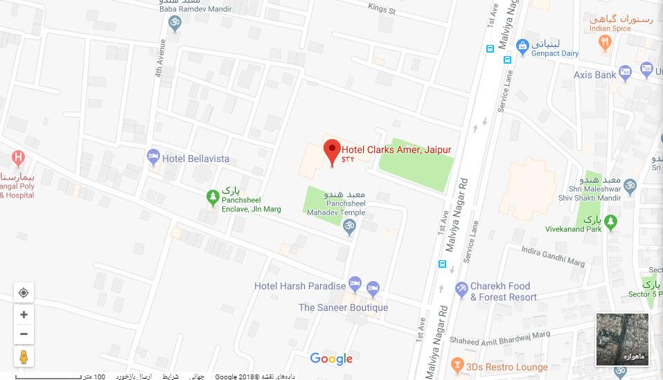 مکان هتل کلارکس آمر بر روی نقشه گوگل