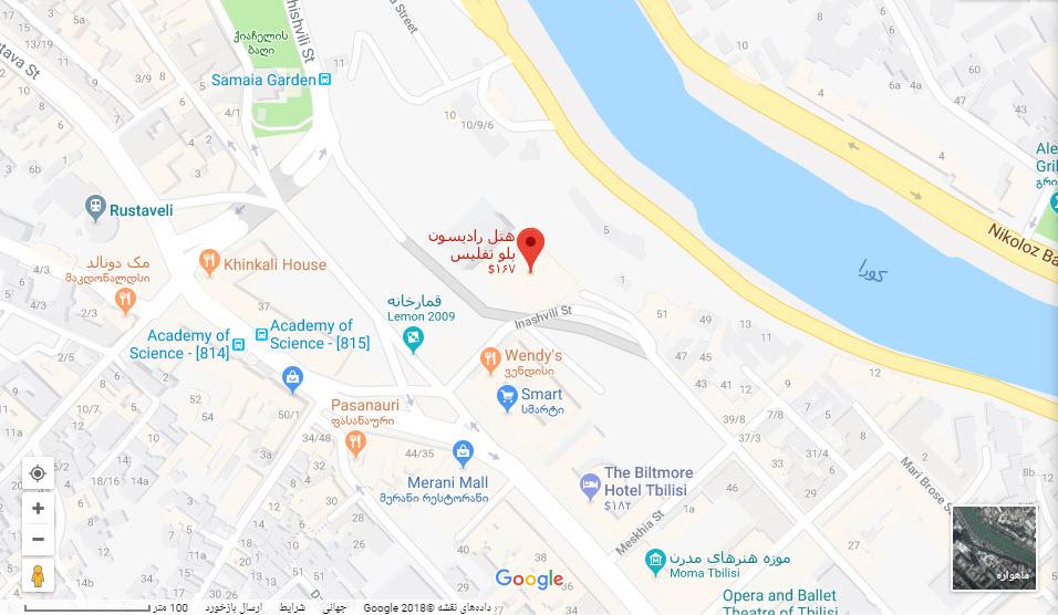 مکان هتل رادیسون بلو بر روی نقشه گوگل