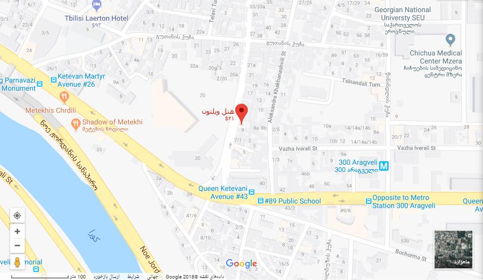 مکان هتل ویلتون بر روی نقشه گوگل