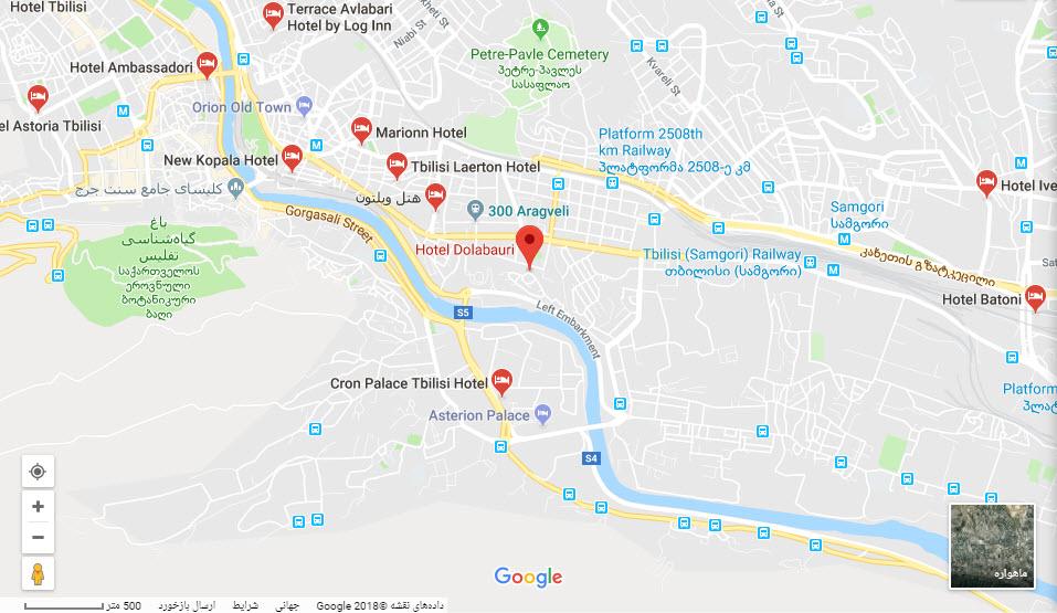 مکان هتل دولابوری بر روی نقشه گوگل