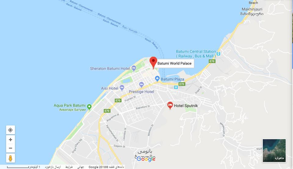 مکان هتل باتومی ورلد پالاس  بر روی نقشه گوگل