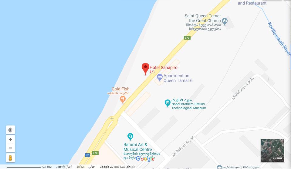 مکان هتل ساناپیرو بر روی نقشه گوگل