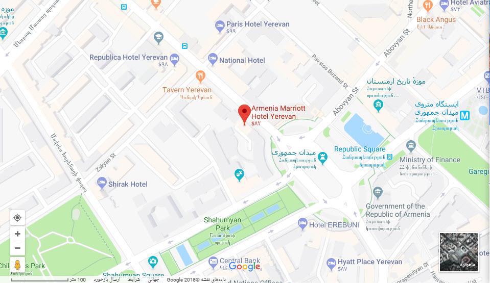 مکان هتل ماریوت بر روی نقشه گوگل
