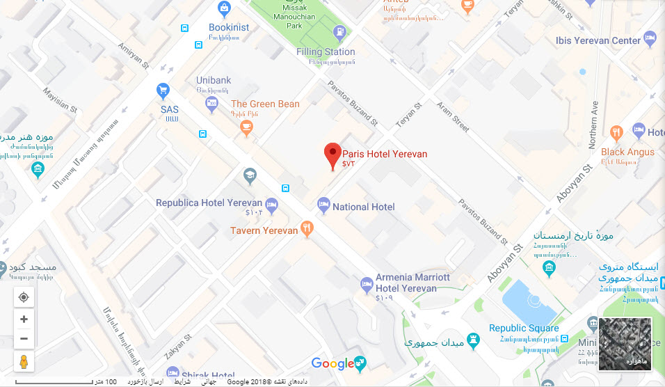 مکان هتل پاریس بر روی نقشه گوگل