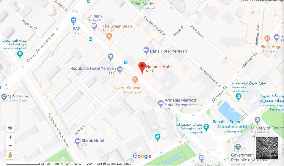 مکان هتل ناسیونال بر روی نقشه گوگل