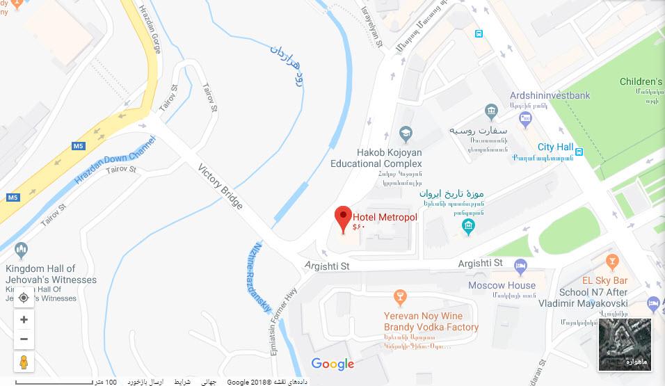 مکان هتل مترو پل بر روی نقشه گوگل